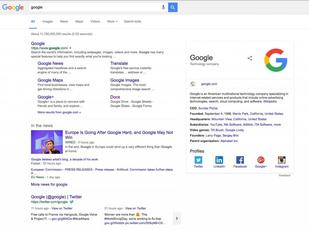 Google's Knowledge Graph Box